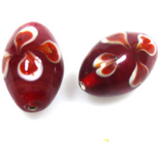 Indian Lampwork, oval, red with orange/white flowers