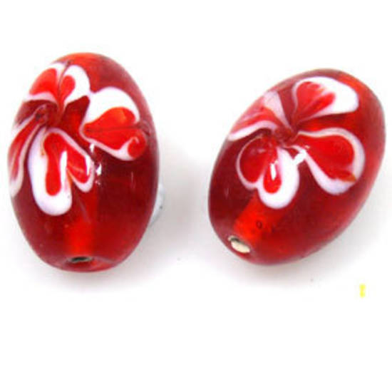 Indian Lampwork, oval, transparent orangey red with red/white flowers