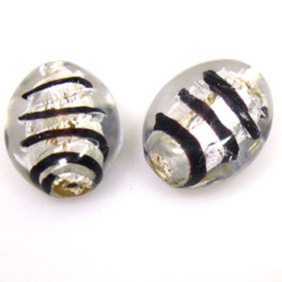Indian Lampwork, flat oval, transparent with silver foil core and black stripes