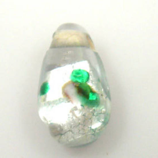Indian Lampwork, drop, clear/white with silver foil flower design