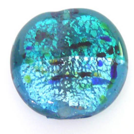 Indian Lampwork, large feature foil, indicolite/aqua speckled flat disc
