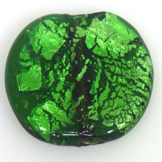 Indian Lampwork, large feature foil, bright green flat disc