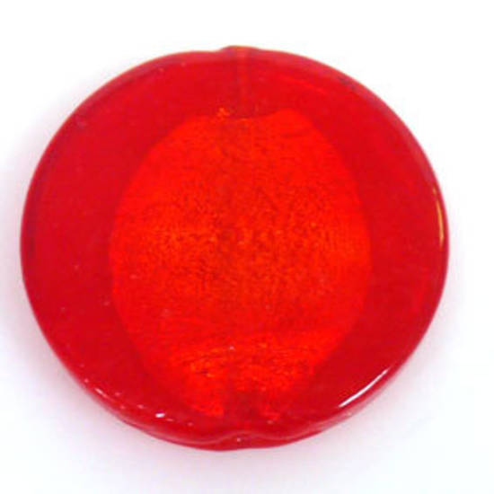 Indian Lampwork, large feature foil, red flat disc