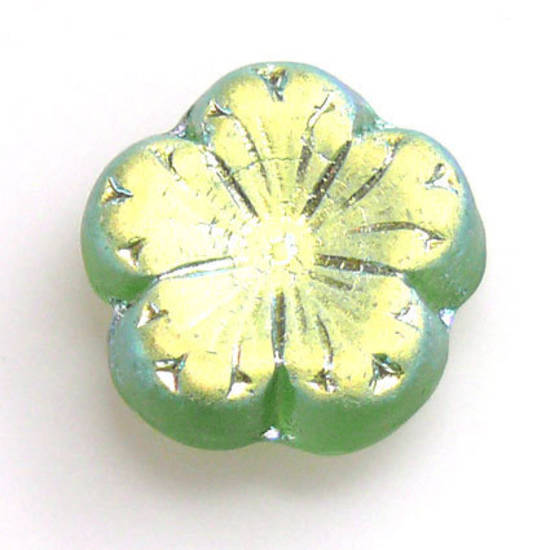 Jube Flower, 17mm - Peridot, frosted AB