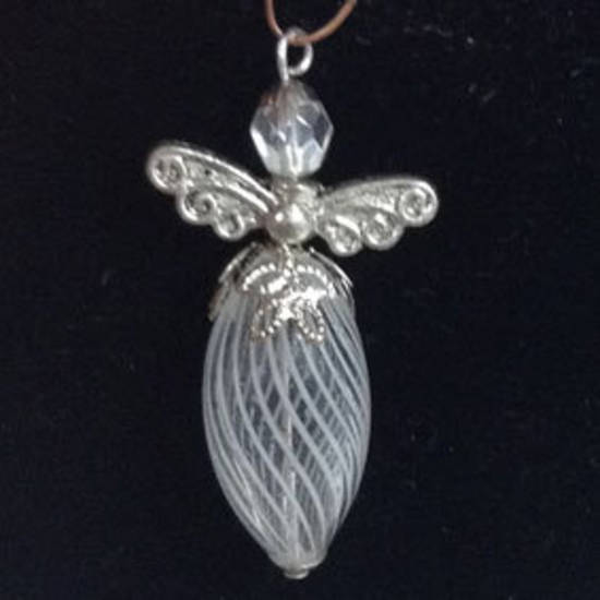 KITSET: Christmas Angel - White/clear blown glass bead