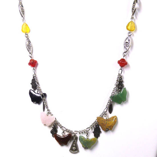 CLEARANCE: Linked Chain Necklace Kitset, semi-precious butterfly