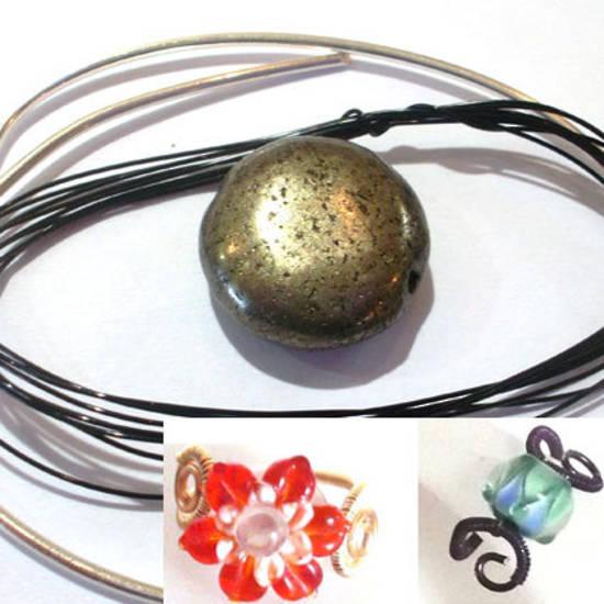 Wire Ring Kit, Iron Pyrite flat disc
