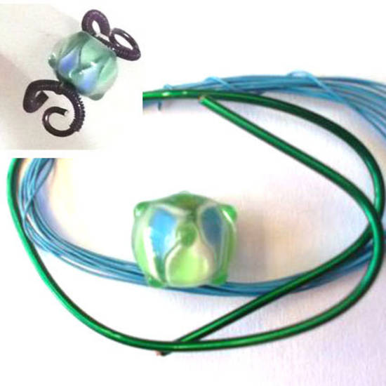 Wire Ring Kit, Blue and Green Rhondelle