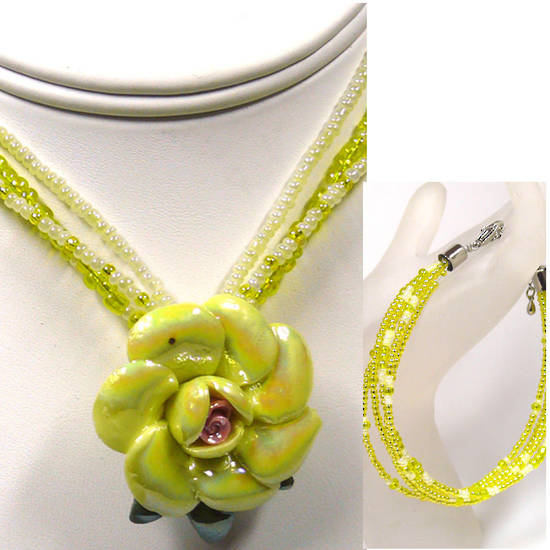 CLEARANCE KITSET: Rose necklace and  bracelet - Yellow