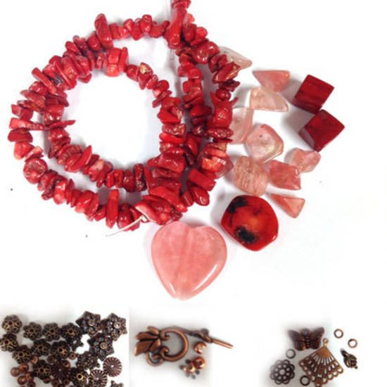 KITSET: Wrapped Bracelet: Coral and copper