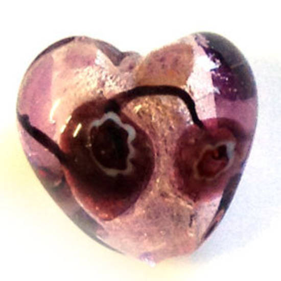 Indian Lampwork Heart - pink and amethyst