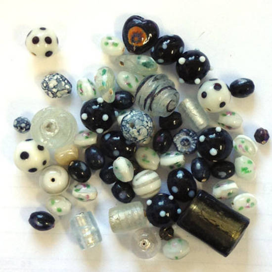 CLEARANCE: Indian Lampwork Mix 4: Blacks and Whites