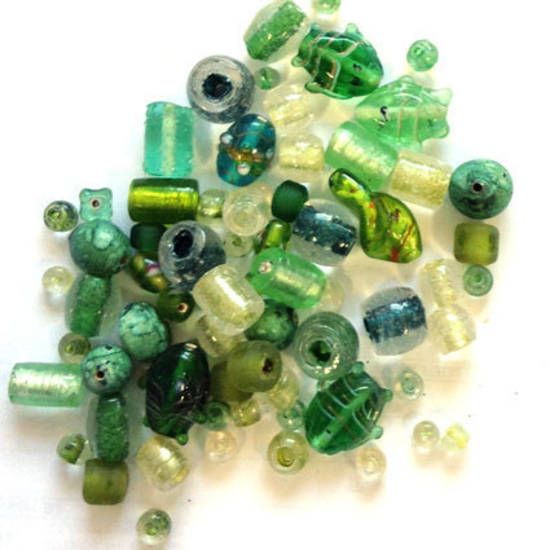 Indian Lampwork Mix  7 - Greens