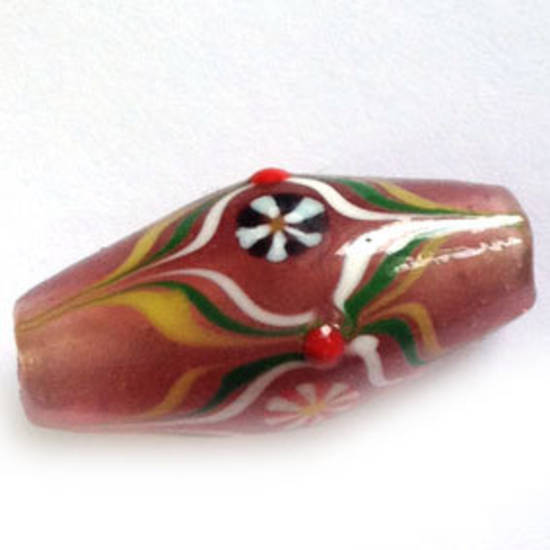 Chinese lampwork oval, old pink with green and white markings