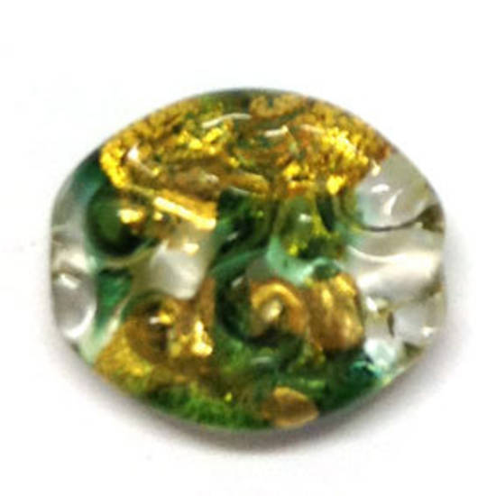 Czech lampwork oval, transparent with gold and green foil, swirl imprints