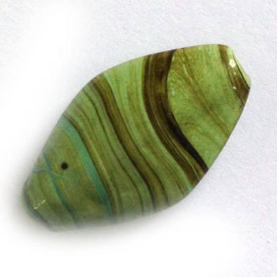 Chinese lampwork oval, opaque green with brown lines