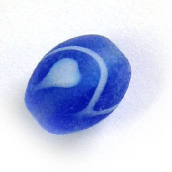Chinese Lampwork Oval, matte sapphire and white