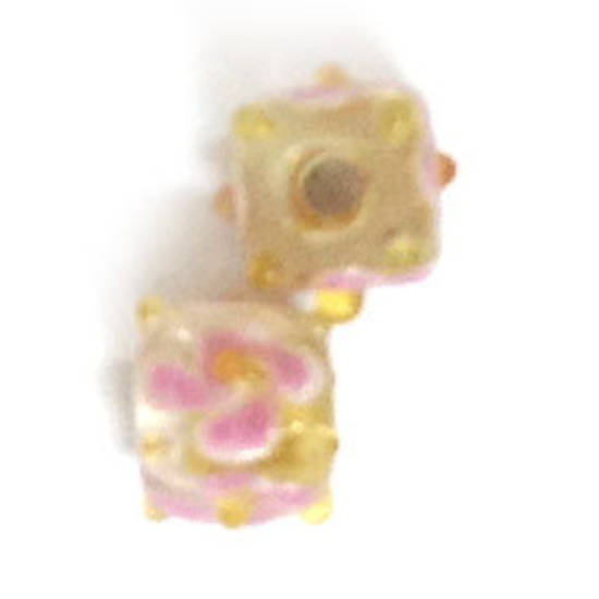 Chinese Lampwork Cube , Dull Yellow with Pink Flower