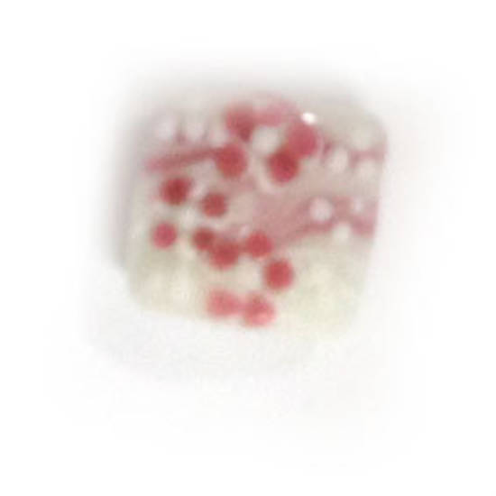 Chinese Lampwork square cushion, white with pink flowers