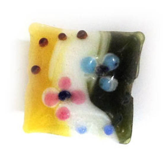 Chinese lampwork square cushion, olive/yellow/white with pink flowers