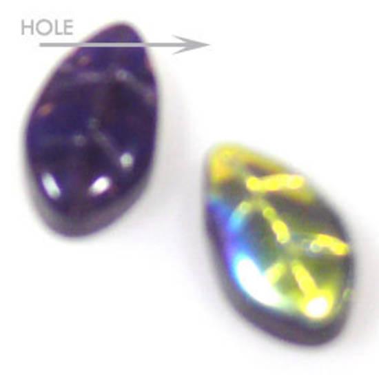 Glass Fine Curved Leaf, 6mm x 10mm - Dark purple AB
