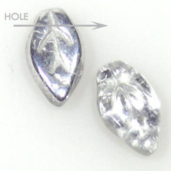 Glass Fine Curved Leaf, 6mm x 10mm - Crystal silver