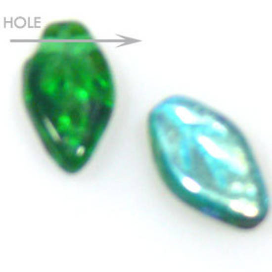 Glass Fine Curved Leaf, 6mm x 10mm - Emerald AB
