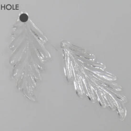Acrylic Feather Leaf, 11mm x 28mm - Transparent Crystal