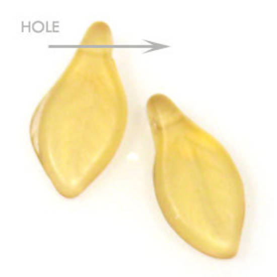 Glass Curved Leaf, 6mm x 12mm  Amber frosted