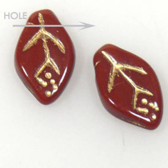 Glass Curved Leaf, 7mm x 12mm - Brown opaque with gold detail