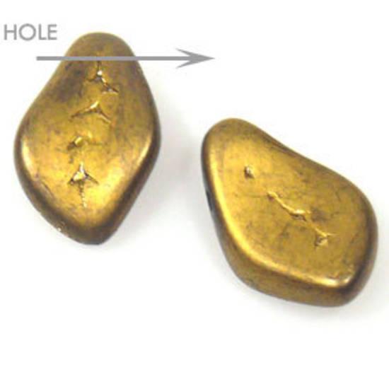 Glass Fat Curved Leaf, 9mm x 15mm - Metallic gold