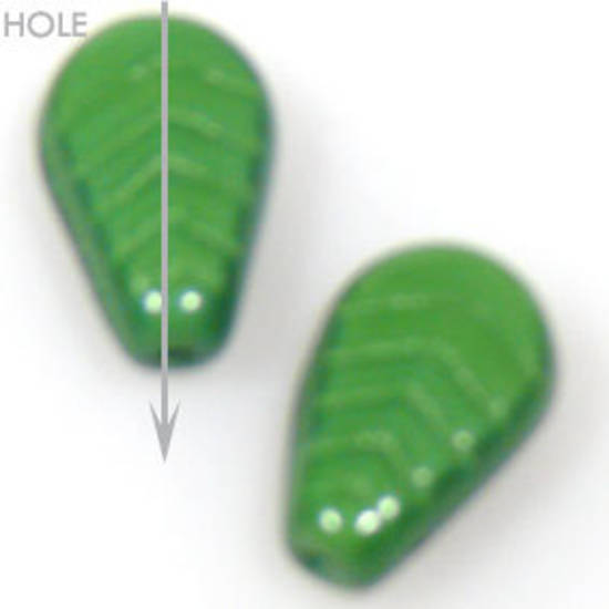 Glass Deco Leaf, 7mm x 10mm - Deep opaque green