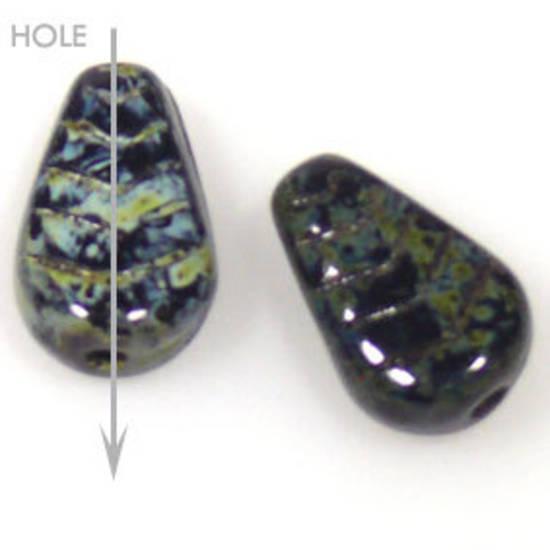 Glass Deco Leaf, 7mm x 12mm - China black