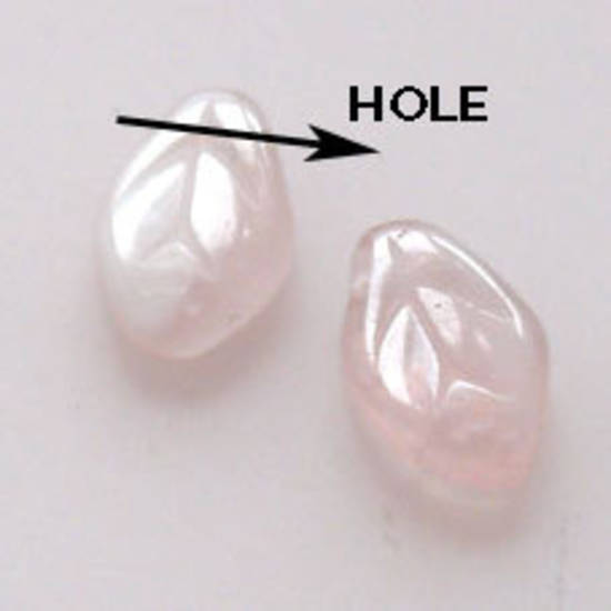Flat Leaf, 7mm x 12mm - Pink/Clear opaque