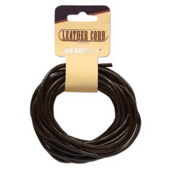 3mm Brown leather cord: 5 yard card (4.5m)