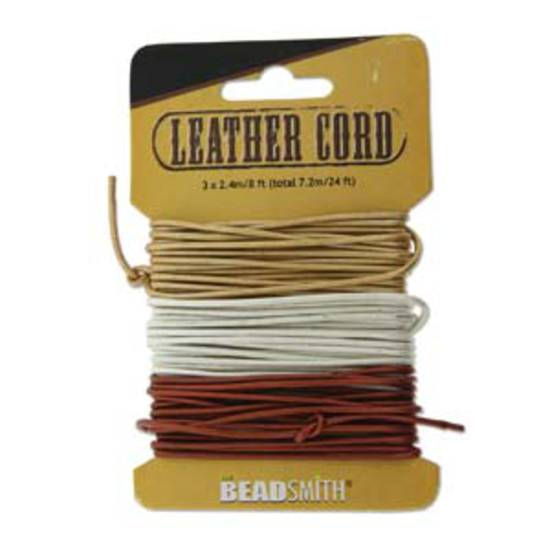 1mm leather cord: assorted colour card, 25 yards (22.8m). Metallic sheen.