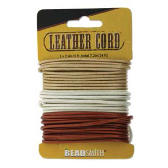 2mm leather cord: assorted colour card, 25 yards (22.8m). Metallic sheen.