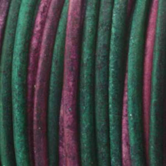 1mm leather cord: Varigated dk green/maroon