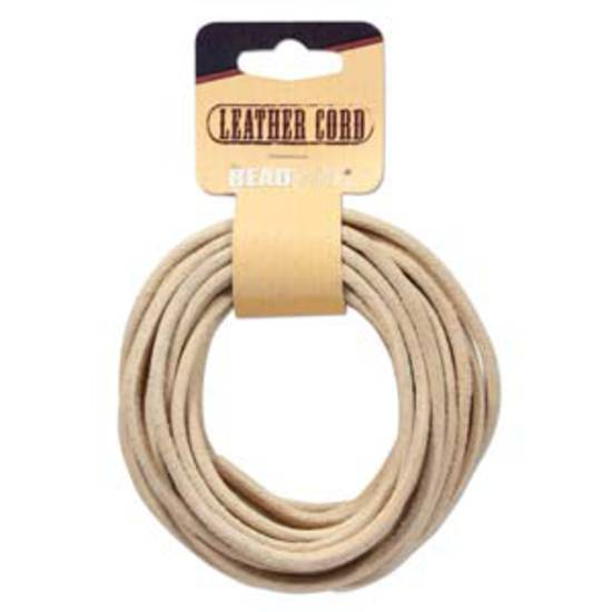 3mm Natural leather cord: 5 yard card (4.5m)