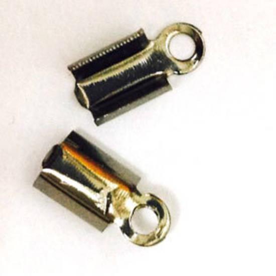 Fold Over Crimp (leatherend) - regular, 5mm: Gunmetal