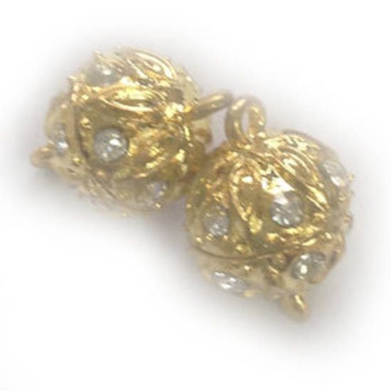 12mm Magnetic clasp:  engraved and set with diamantes - gold