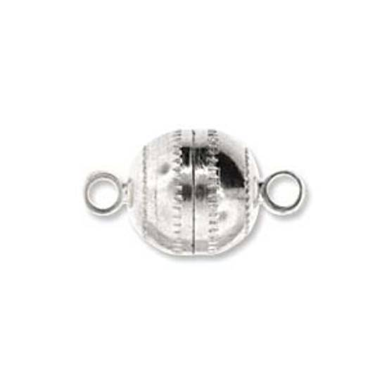 9mm x 8mm Magnetic clasp: patterned ball - ant silver