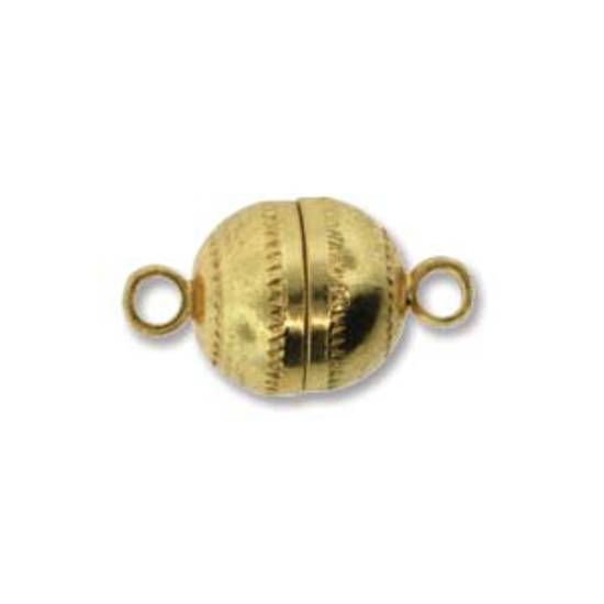 9mm x 8mm Magnetic clasp: patterned ball - gold plate