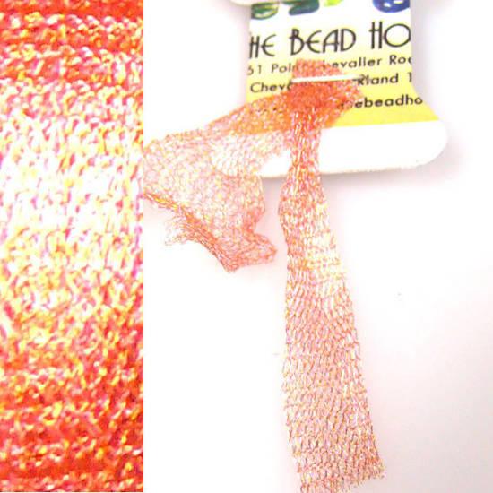 Italian Metallic Mesh Ribbon, Peachy Gold