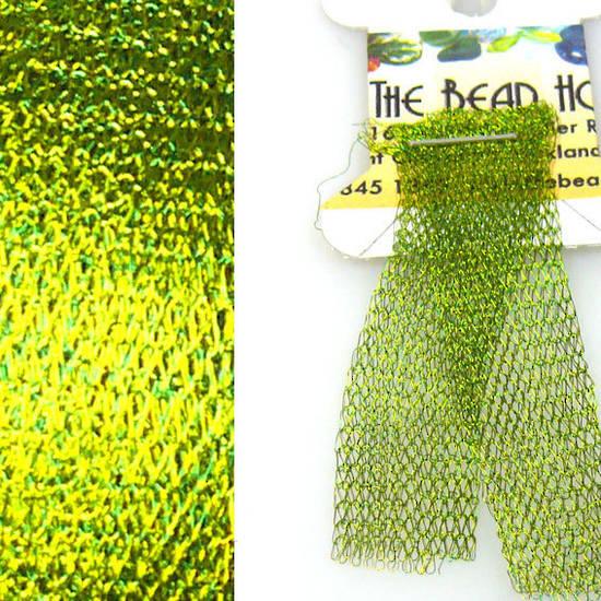 Italian Metallic Mesh Ribbon, Lime