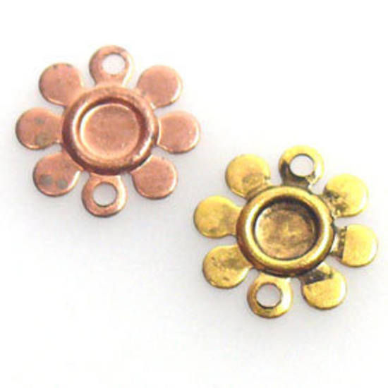 Metal Connector: Flat daisy - gold/copper