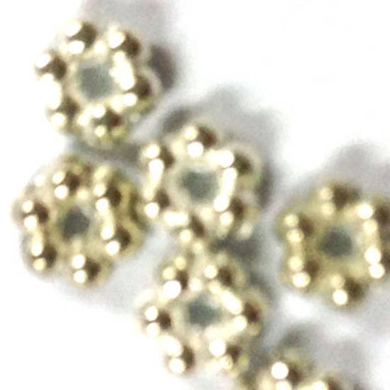 Metal Spacer: 3mm daisy - bright silver