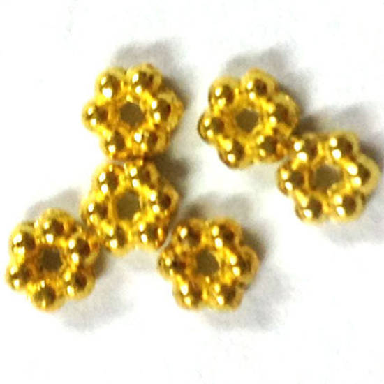 Metal spacer - 3mm daisy - gold