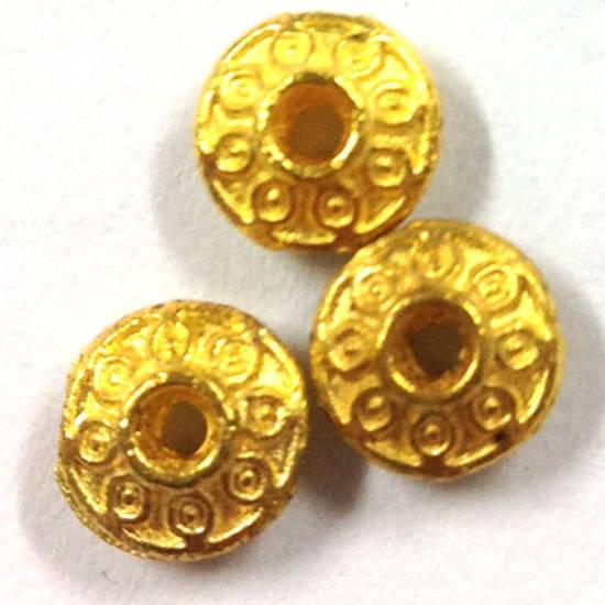 Metal spacer - 7mm fancy rhondelle - gold