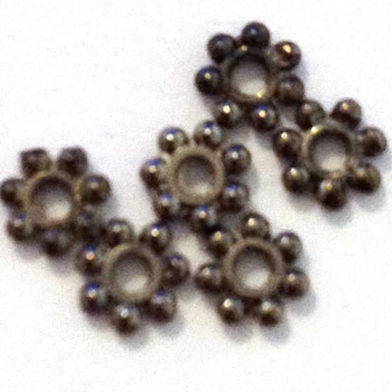 Metal Spacer: 4mm flower edge - gunmetal